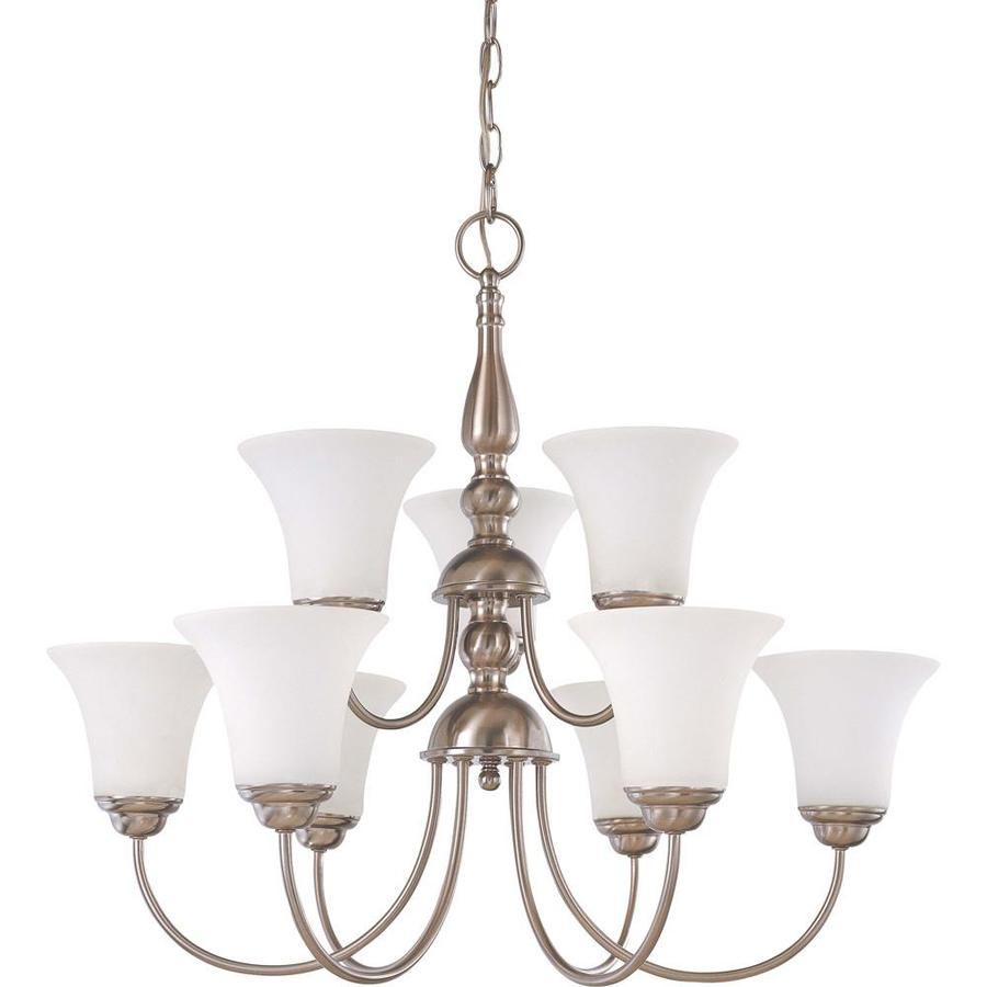 Dupont 27.5-in 9-Light Brushed Nickel Tinted Glass Tiered Chandelier
