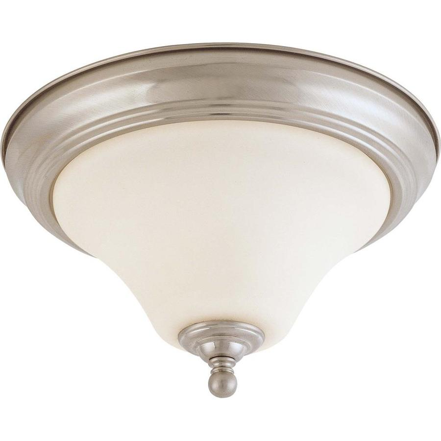 11-in W Brushed Nickel Standard Flush Mount Light