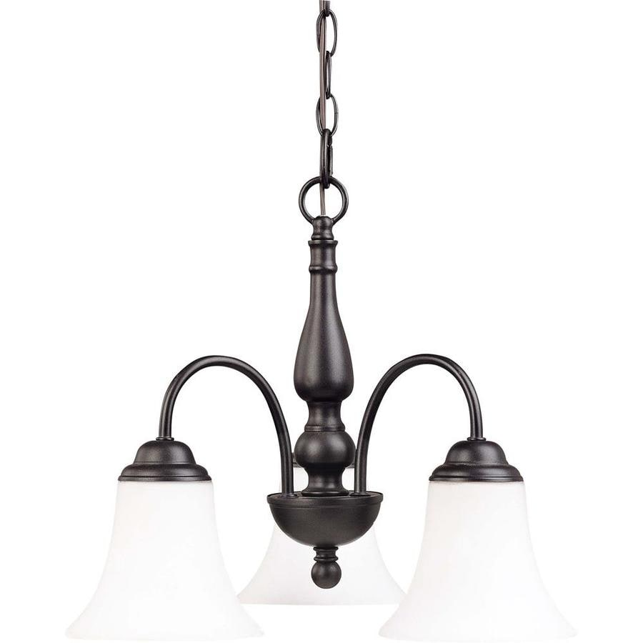 Dupont 16-in 3-Light Dark Chocolate Bronze Tinted Glass Candle Chandelier