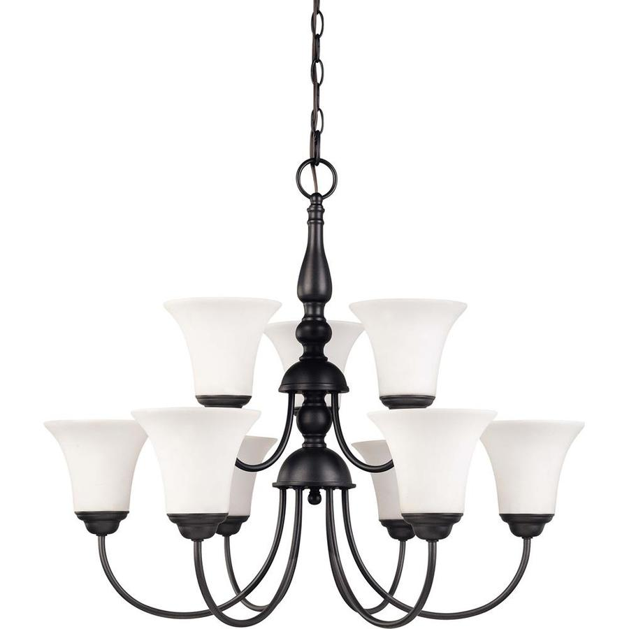 Dupont 27.5-in 9-Light Dark Chocolate Bronze Tinted Glass Tiered Chandelier