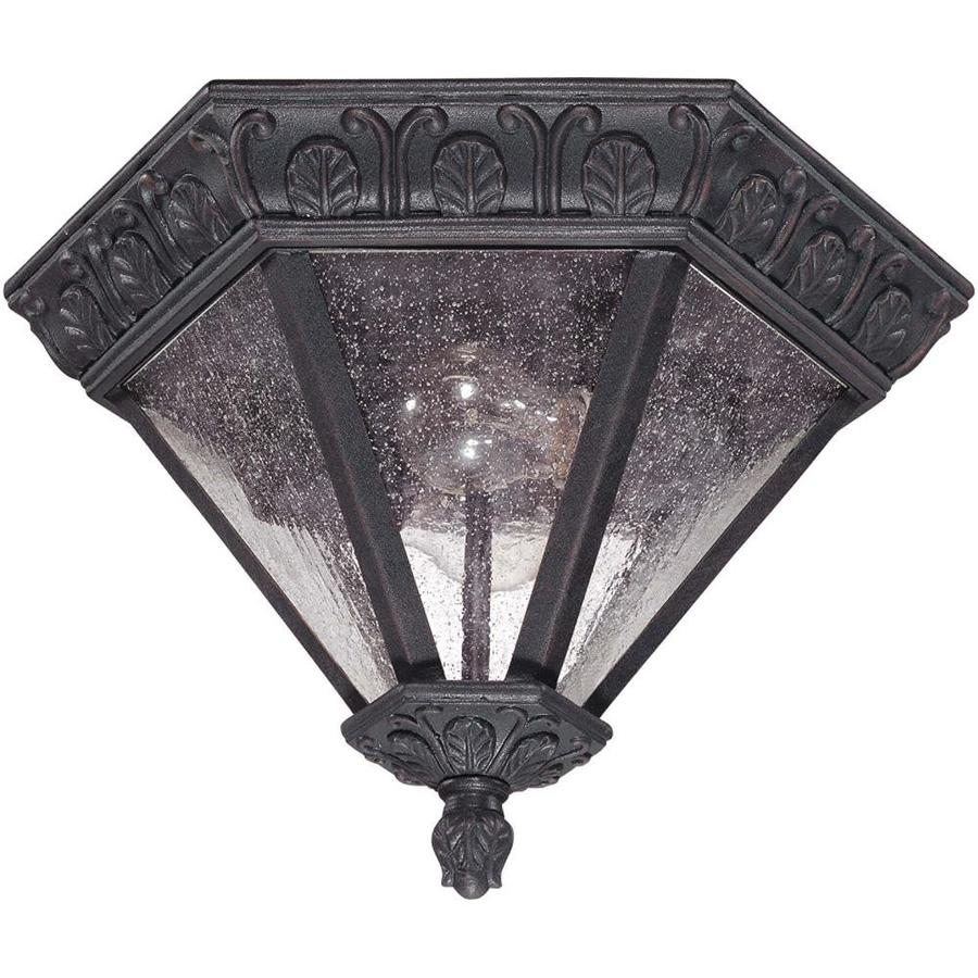 13.11-in W Satin Iron Ore Outdoor Flush-Mount Light