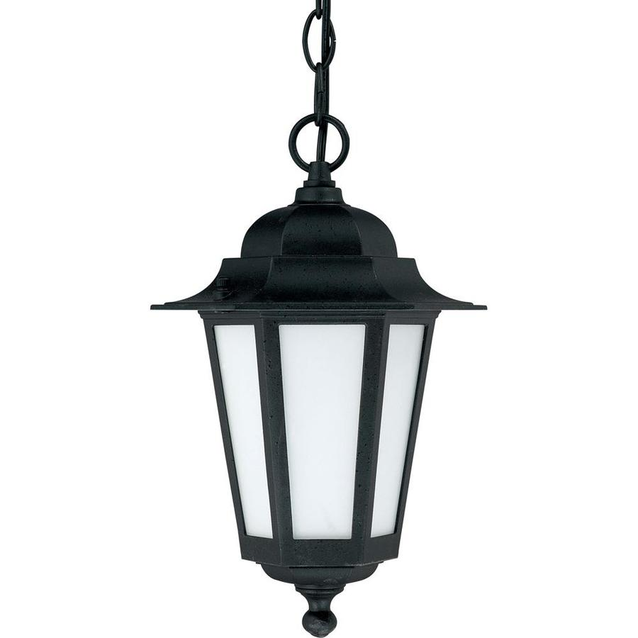 16.79-in W Textured Black Outdoor Flush-Mount Light
