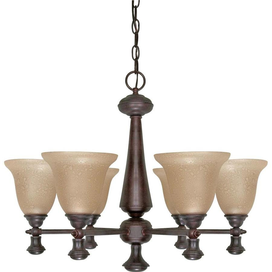 Mericana 25.25-in 6-Light Old Bronze Tinted Glass Candle Chandelier