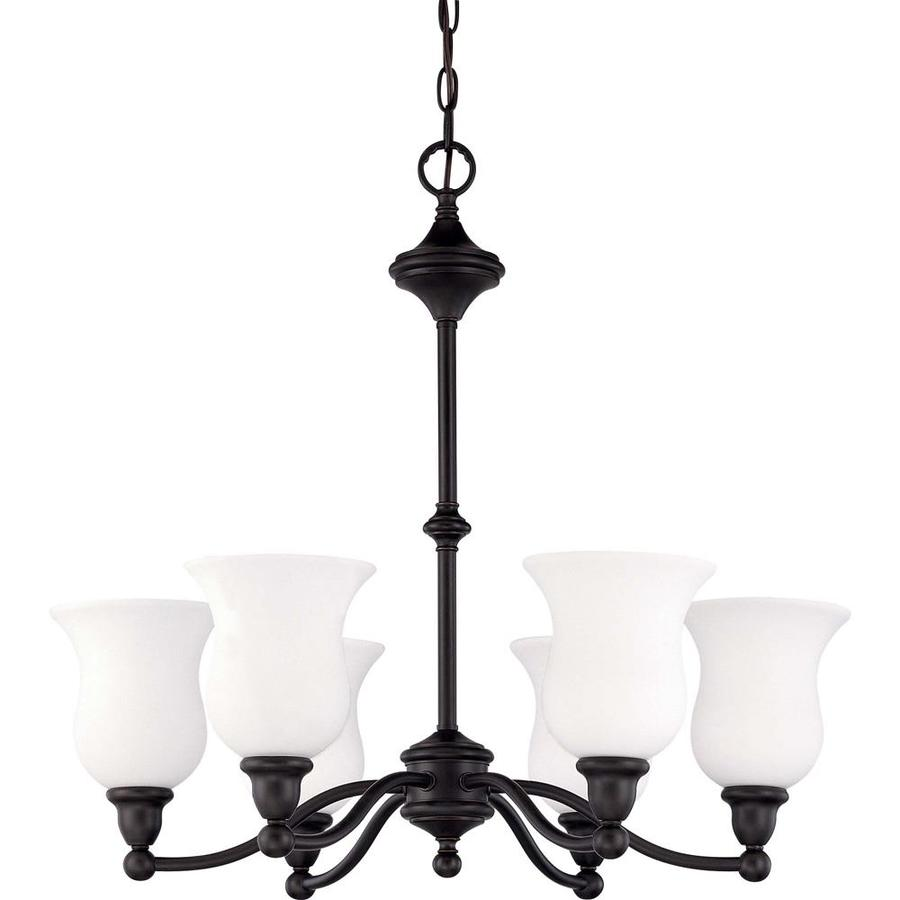 Glenwood 25.5-in 6-Light Sudbury Bronze Tinted Glass Candle Chandelier