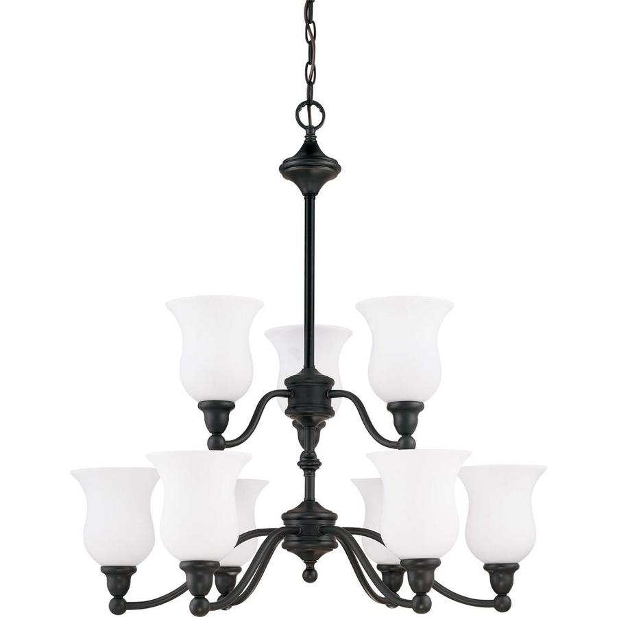 Glenwood 32.25-in 9-Light Sudbury Bronze Tinted Glass Tiered Chandelier