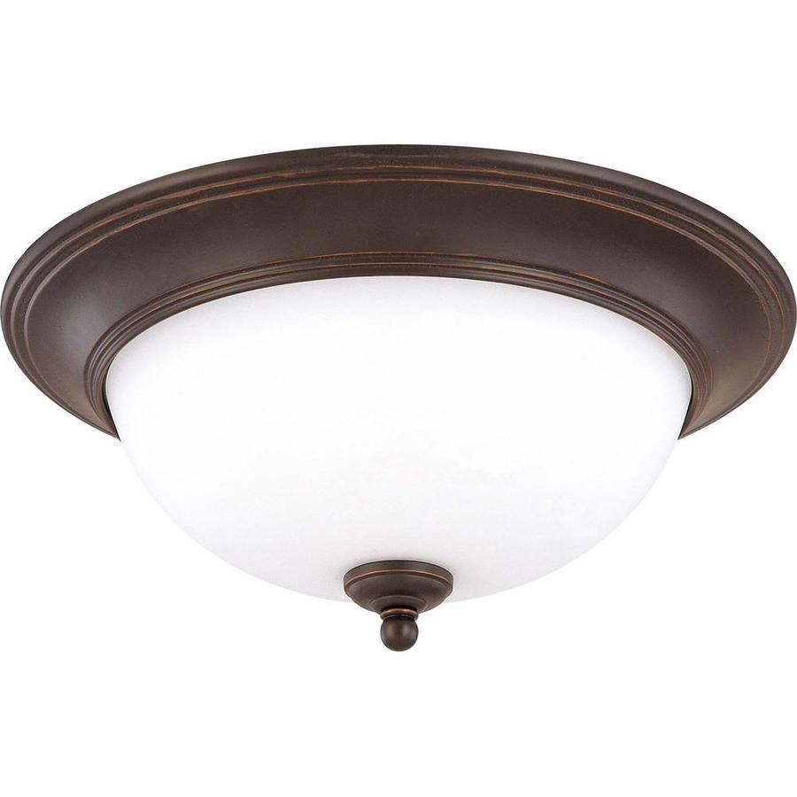 16-in W Sudbury Bronze Standard Flush Mount Light