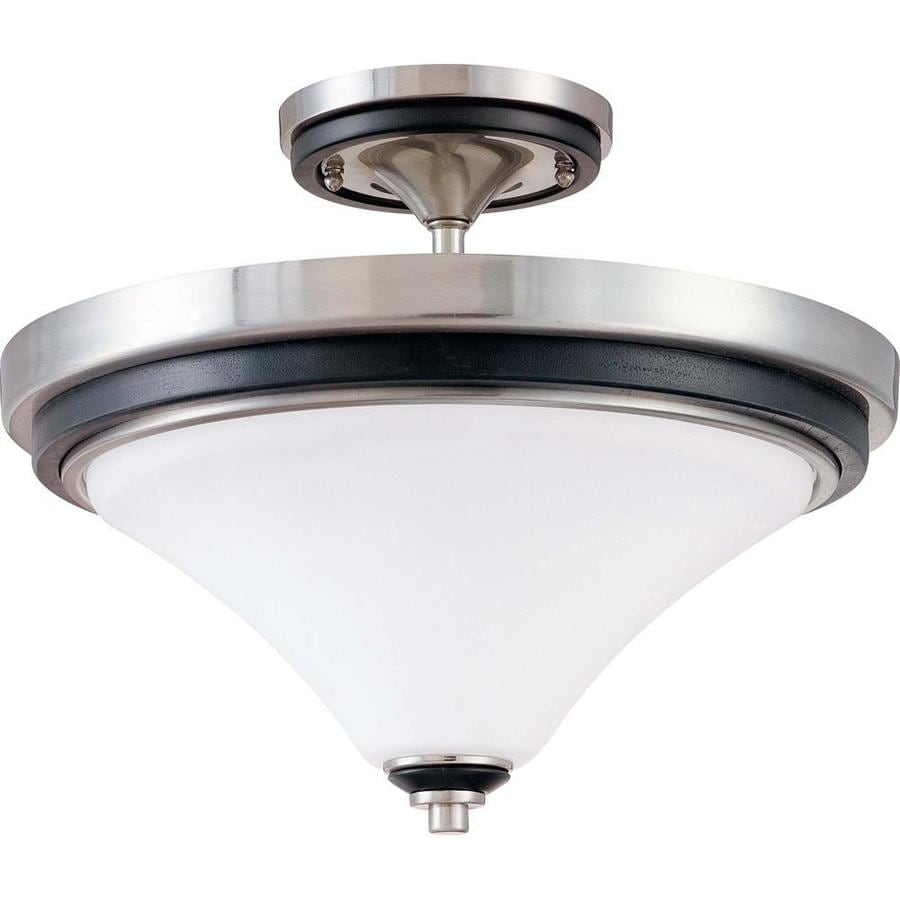 Divina 15.68-in W Nickel and Black Frosted Glass Semi-Flush Mount Light