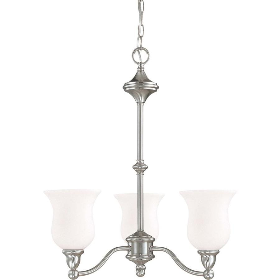 Glenwood 22-in 3-Light Brushed Nickel Tinted Glass Candle Chandelier