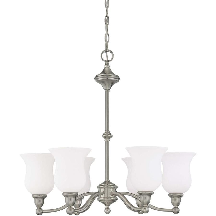 Glenwood 25.5-in 6-Light Brushed nickel Tinted Glass Candle Chandelier
