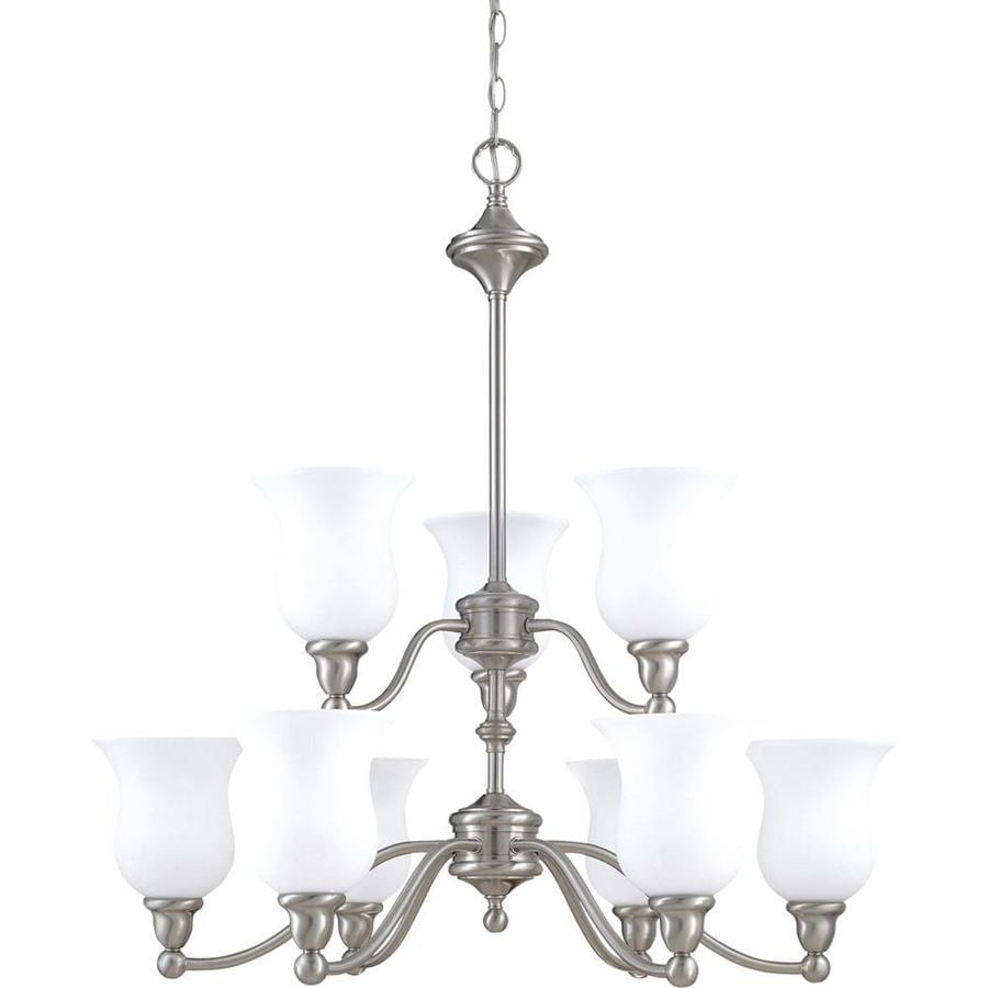 Glenwood 32.25-in 9-Light Brushed nickel Tinted Glass Tiered Chandelier