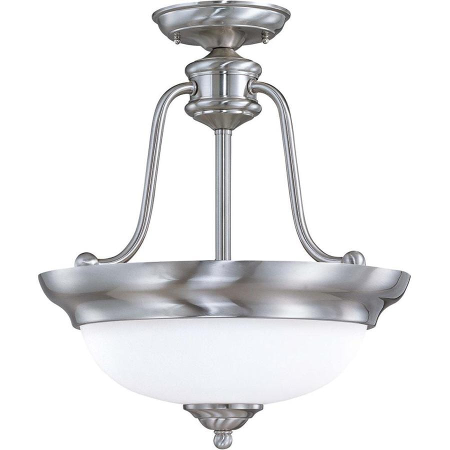 Divina 17.76-in W Brushed Nickel Frosted Glass Semi-Flush Mount Light