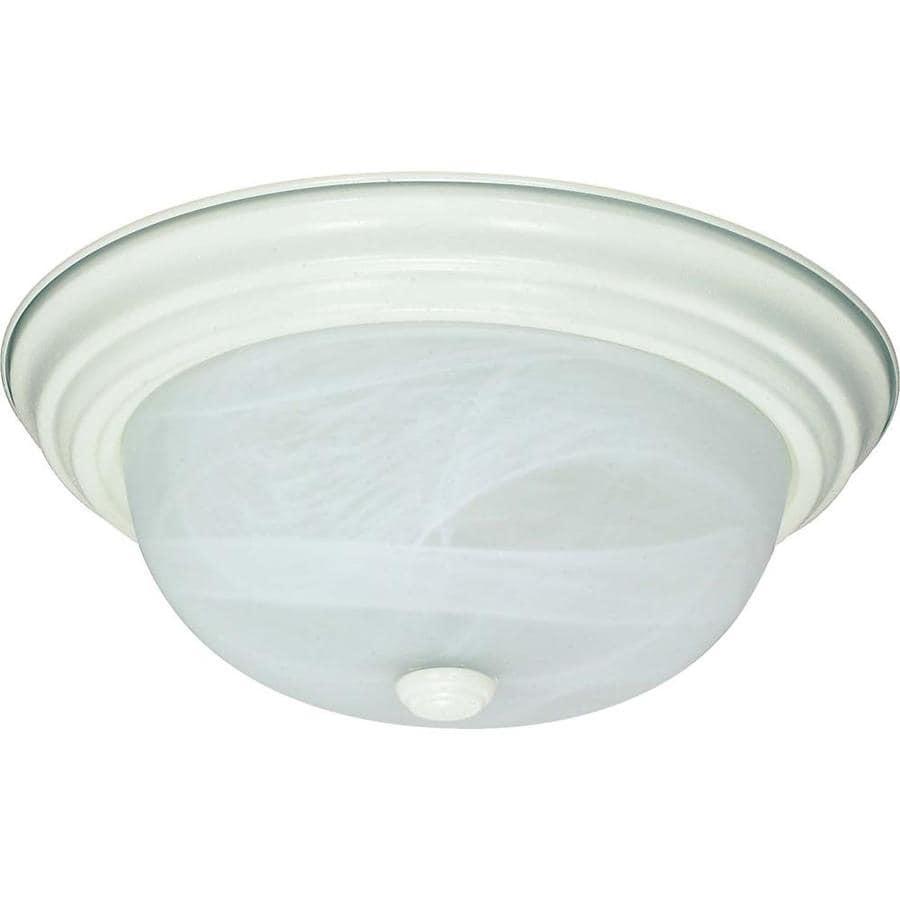 11.37-in W Textured White Ceiling Flush Mount Light
