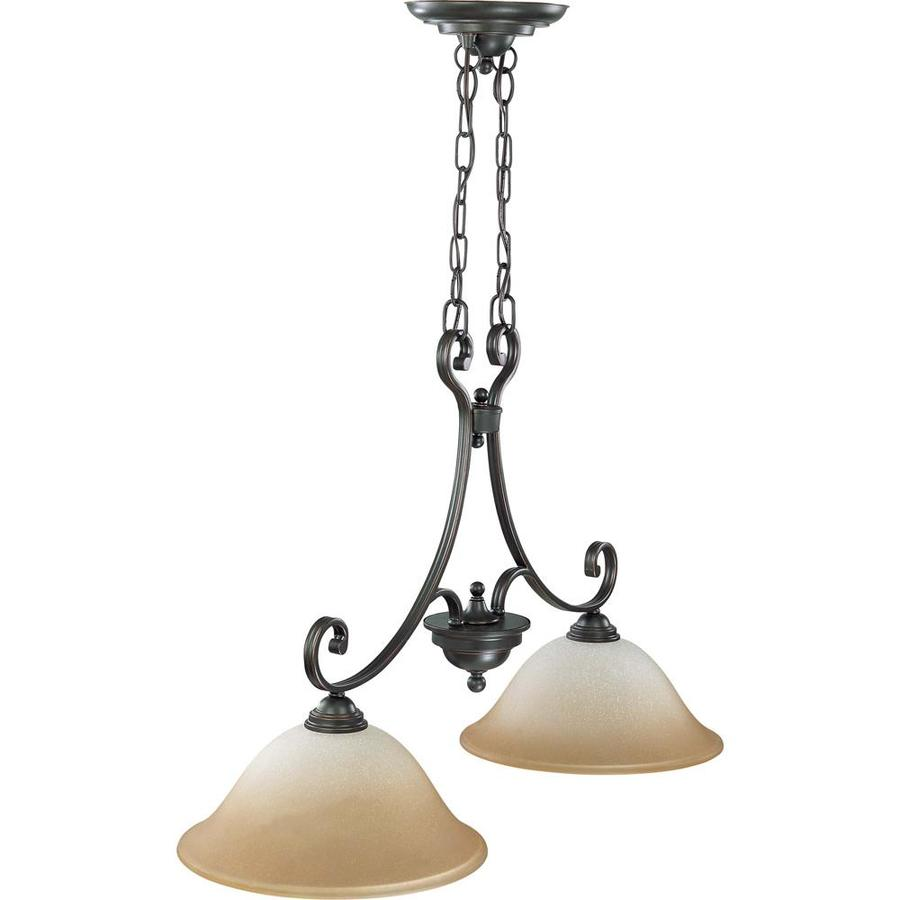 Montgomery 13-in W 2-Light Sudbury Bronze Kitchen Island Light with Tinted Shade