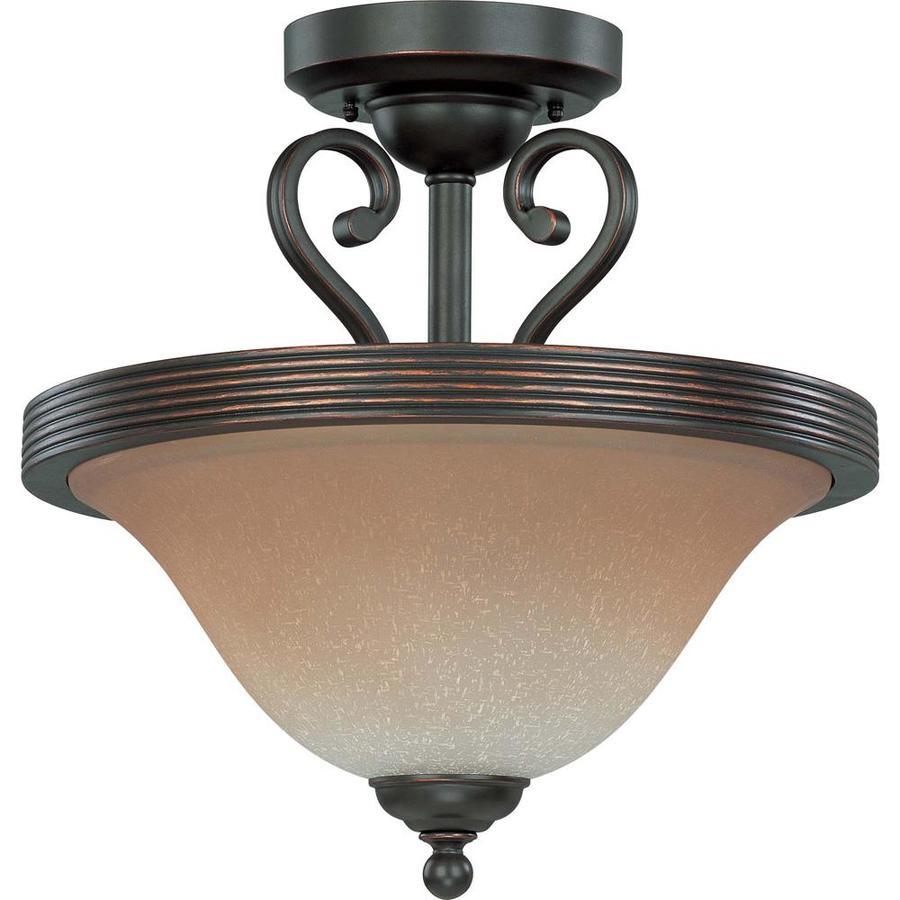 Divina 8.08-in W Sudbury bronze Tea-stained Glass Semi-Flush Mount Light