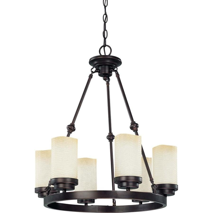 Lucern 20.25-in 6-Light Patina Bronze Tinted Glass Candle Chandelier