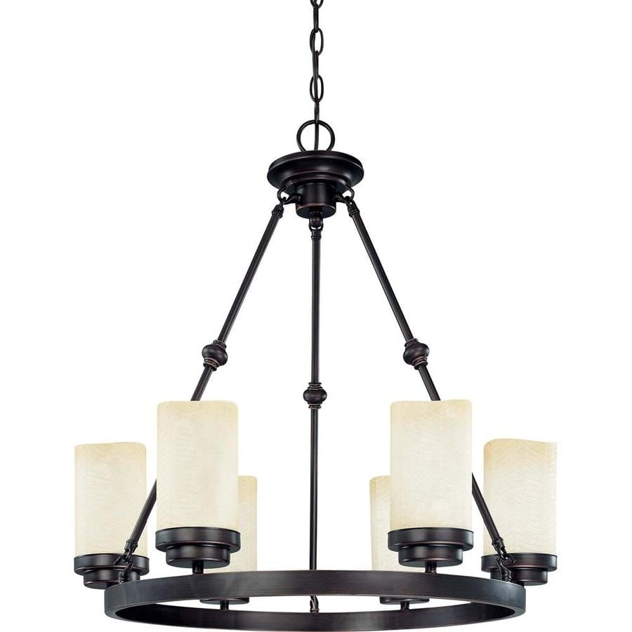 Lucern 26-in 6-Light Patina Bronze Tinted Glass Candle Chandelier