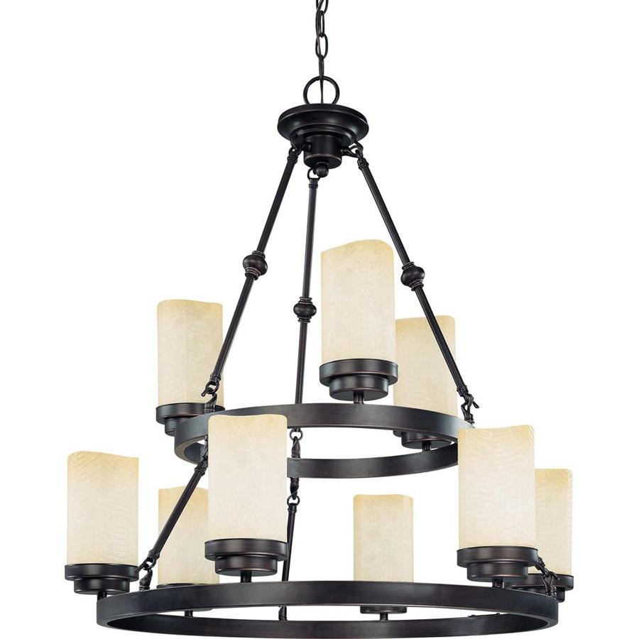 Lucern 29-in 9-Light Patina Bronze Tinted Glass Tiered Chandelier