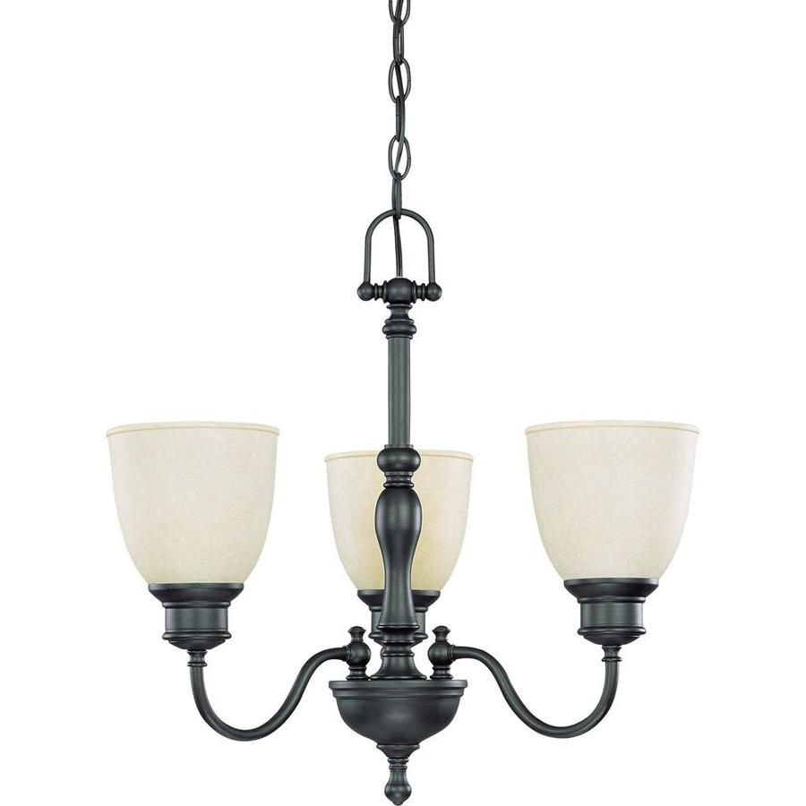 Bella 21-in 3-Light Aged Bronze Tinted Glass Candle Chandelier