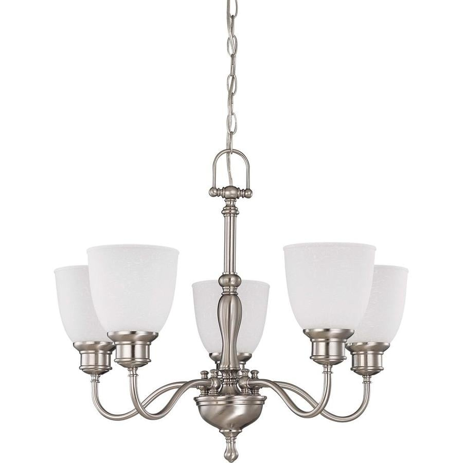Bella 24.5-in 5-Light Brushed nickel Candle Chandelier