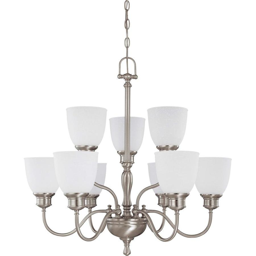 Bella 29-in 9-Light Brushed Nickel Tiered Chandelier