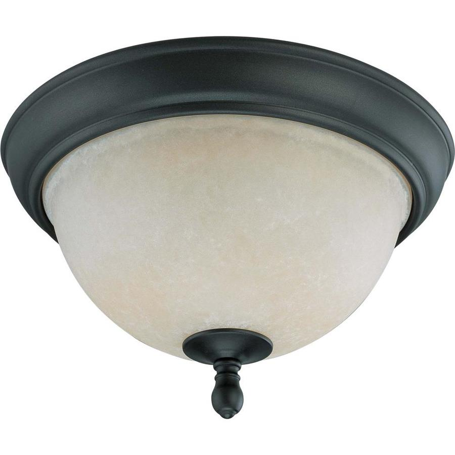 11.25-in W Aged Bronze Standard Flush Mount Light