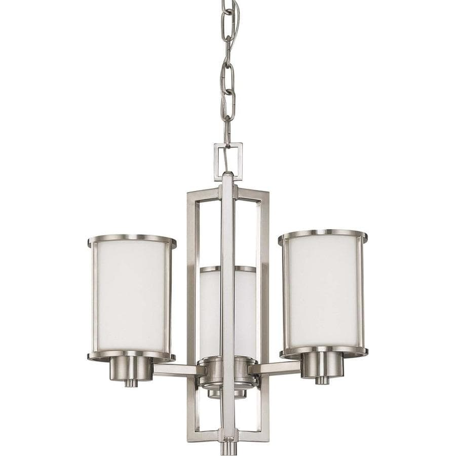 Odeon 17.75-in 3-Light Brushed Nickel Tinted Glass Candle Chandelier
