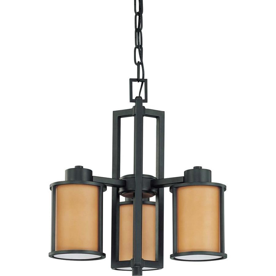 Odeon 17.75-in 3-Light Aged Bronze Tinted Glass Candle Chandelier
