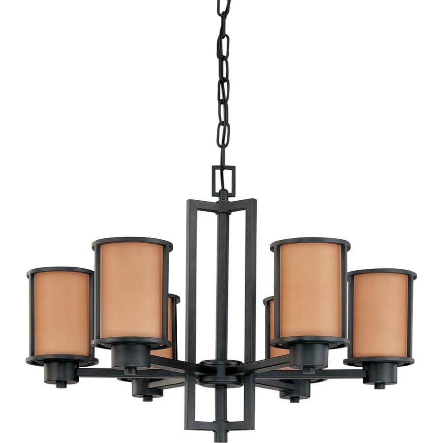 Odeon 28-in 6-Light Aged bronze Tinted Glass Candle Chandelier