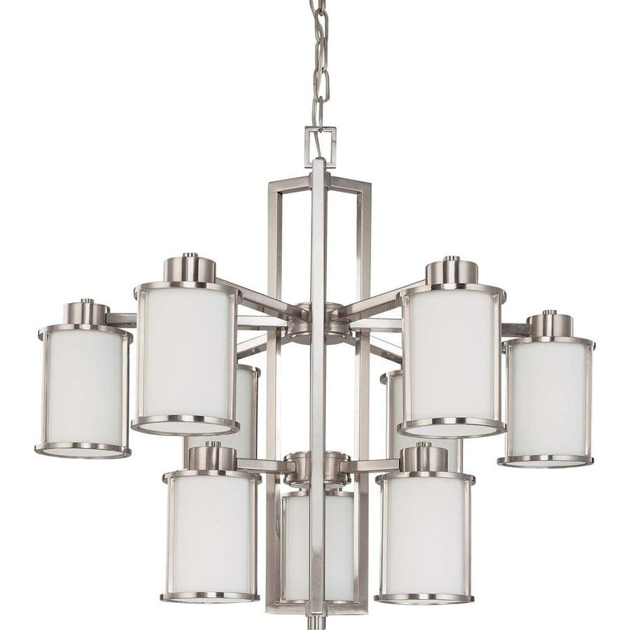 Odeon 30-in 9-Light Brushed Nickel Tinted Glass Candle Chandelier