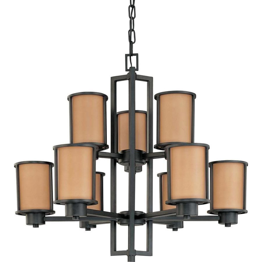 Odeon 30-in 9-Light Aged Bronze Tinted Glass Candle Chandelier