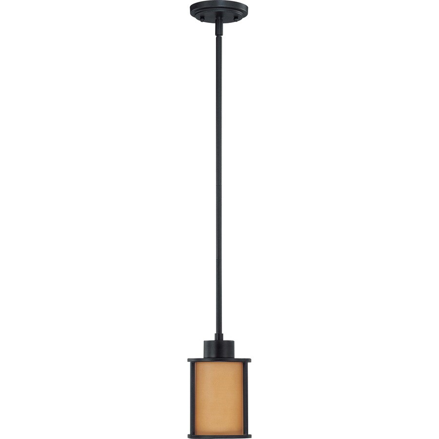 Odeon 14-in Aged Bronze Mini Tinted Glass Pendant