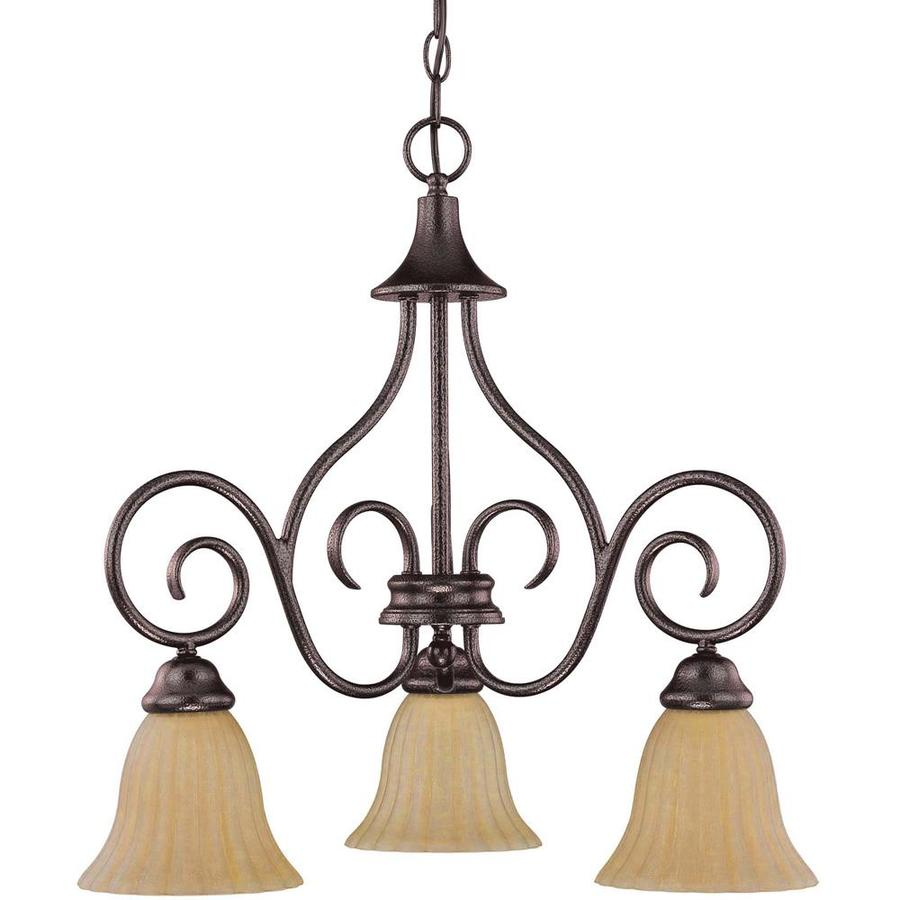 Moulan 23-in 3-Light Copper Bronze Candle Chandelier