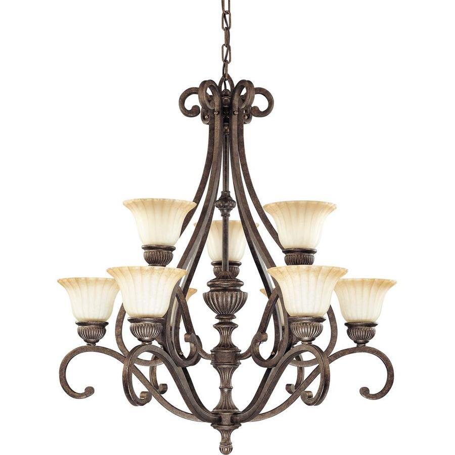 Fortunata 33-in 9-Light Lisbon Bronze Tinted Glass Tiered Chandelier