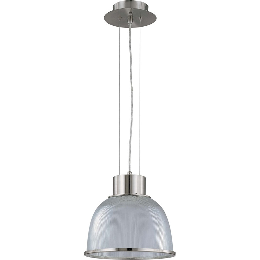 Gear 15.4-in Brushed Nickel Single Clear Glass Pendant