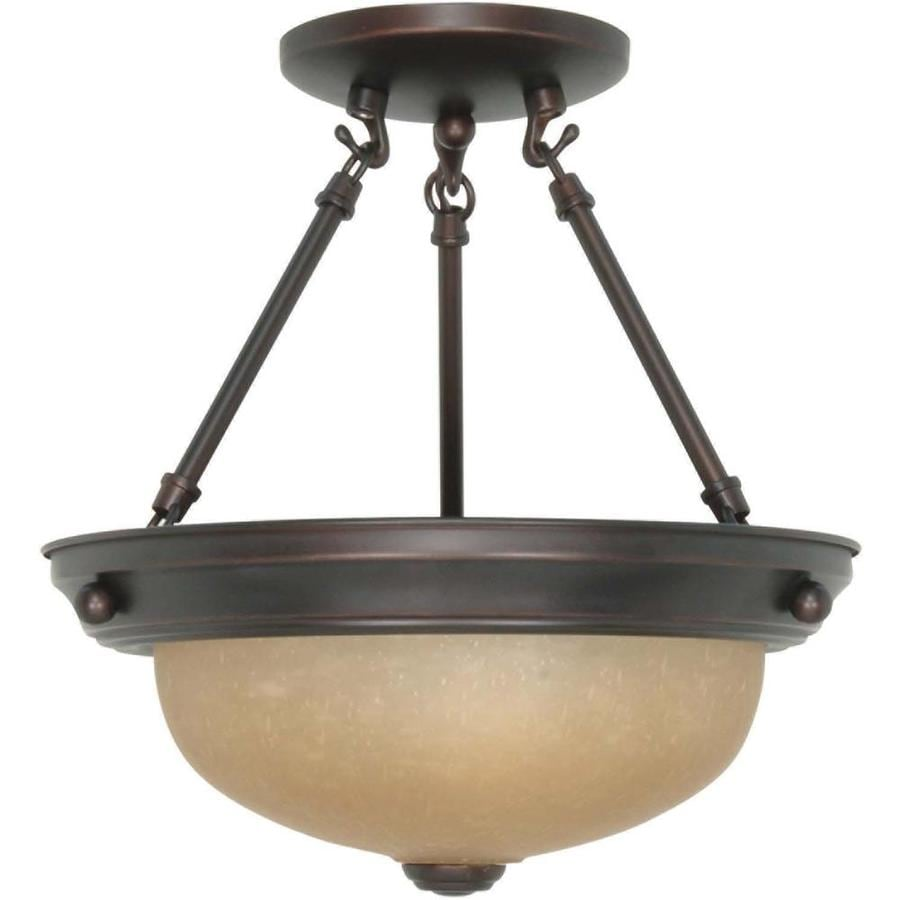 Divina 12-in W Mahogany Bronze Tea-Stained Glass Semi-Flush Mount Light