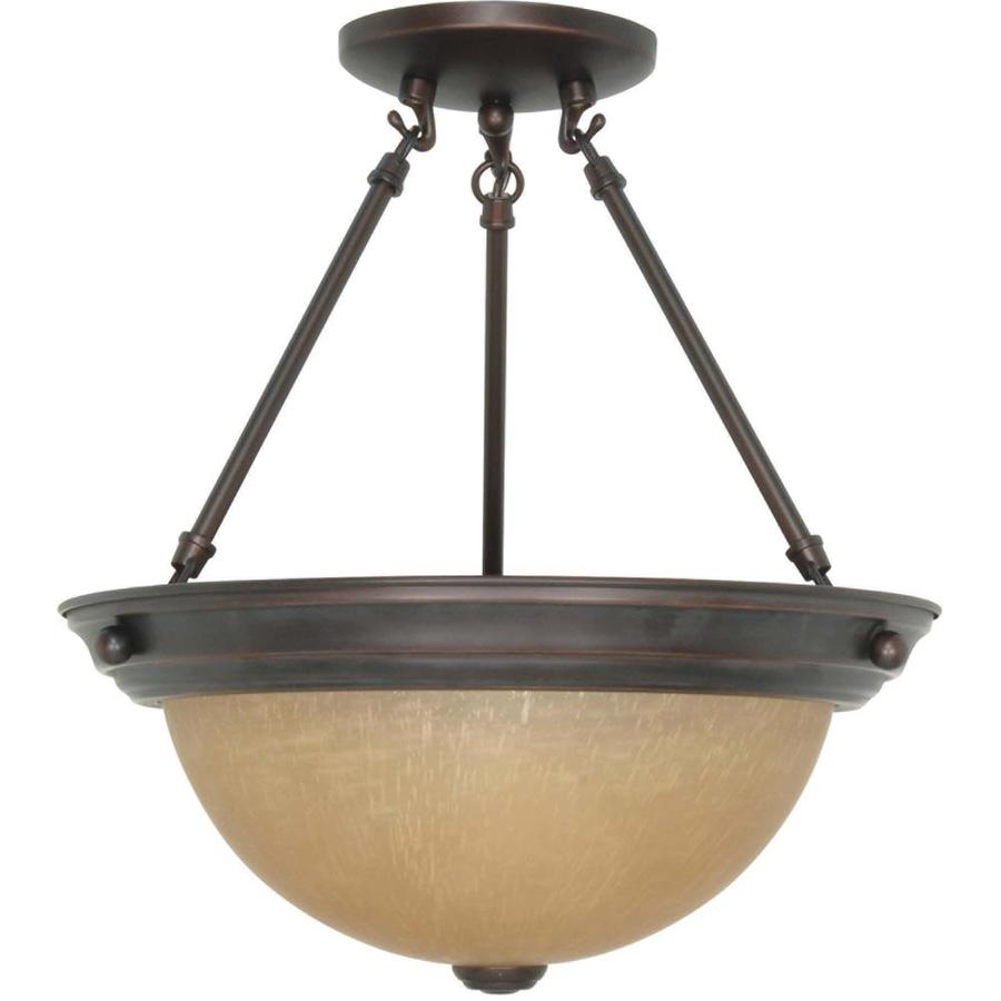 Divina 13.72-in W Mahogany bronze Tea-stained Glass Semi-Flush Mount Light