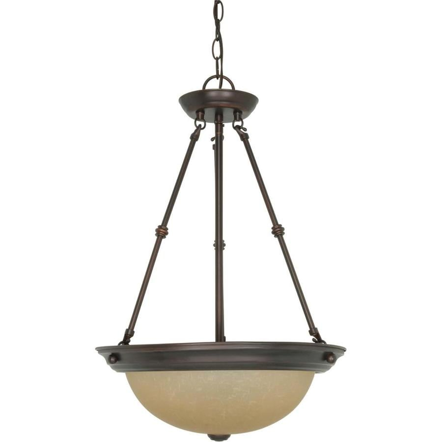 Odeon 16-in Mahogany Bronze Single Tinted Glass Pendant