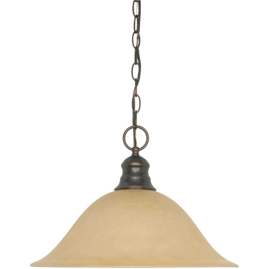 Odeon 17.5-in Mahogany Bronze Single Tinted Glass Pendant