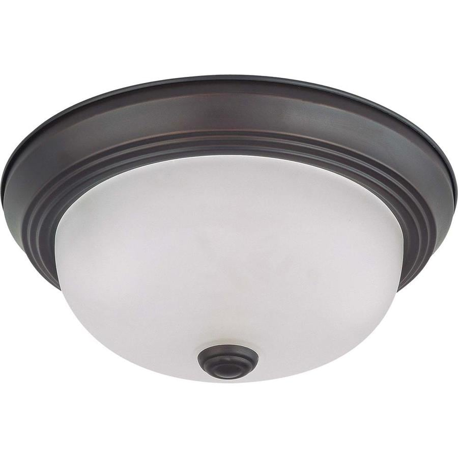 11.37-in W Mahogany Bronze Flush Mount Light