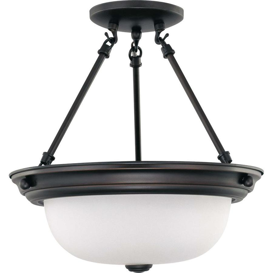 Divina 13.72-in W Mahogany bronze Frosted Glass Semi-Flush Mount Light