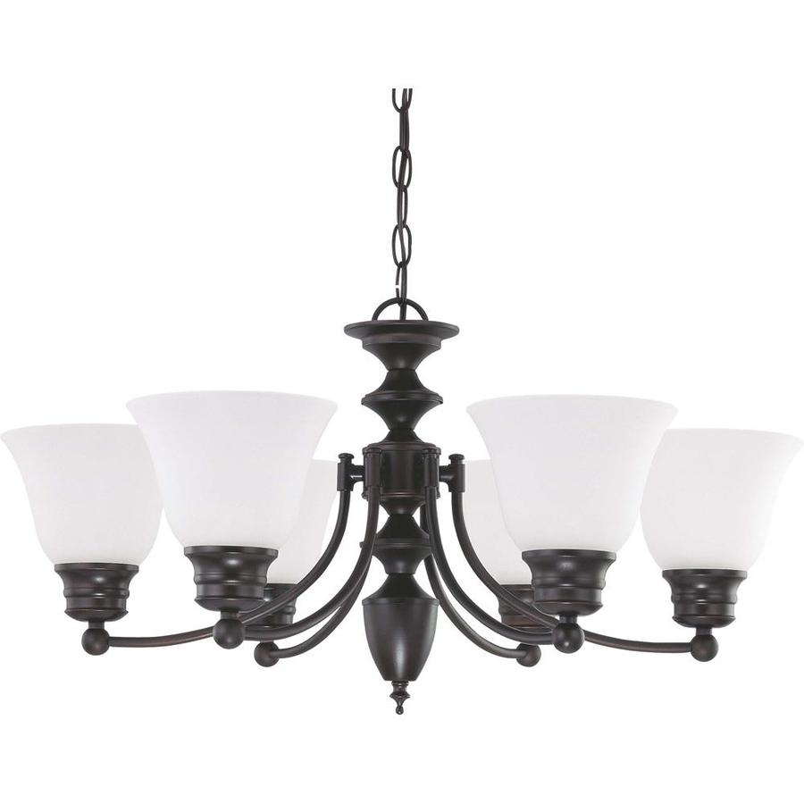 Empire 26-in 6-Light Mahogany Bronze Tinted Glass Candle Chandelier