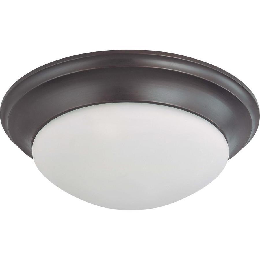 17-in W Mahogany Bronze Standard Flush Mount Light