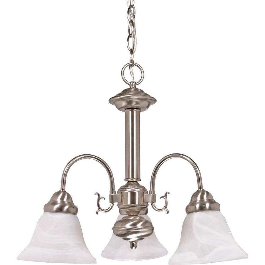 Edith 20-in 3-Light Brushed Nickel Alabaster Glass Candle Chandelier