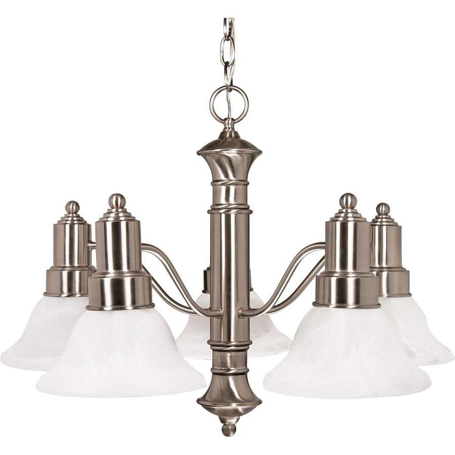 Gotham 24.5-in 5-Light Brushed Nickel Alabaster Glass Candle Chandelier
