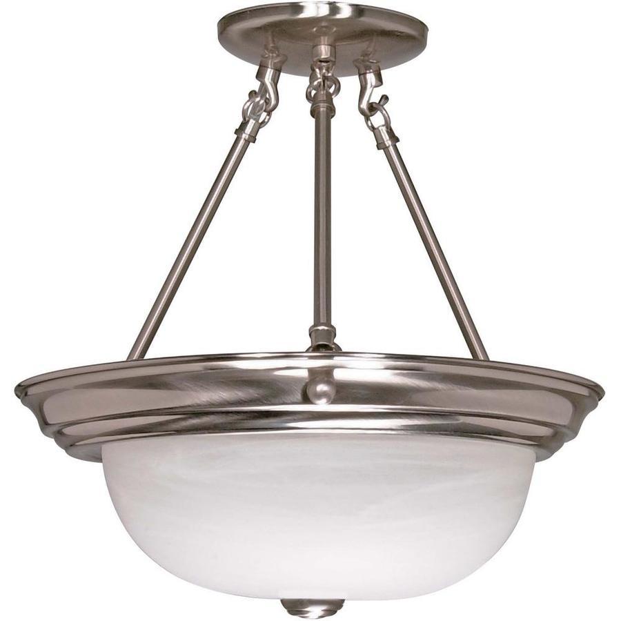 Divina 13.72-in W Brushed Nickel Alabaster Glass Semi-Flush Mount Light