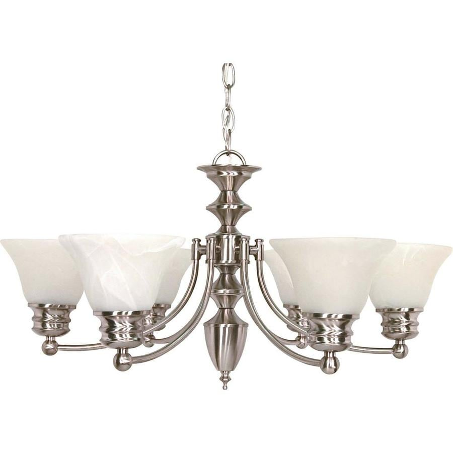 Empire 26-in 6-Light Brushed nickel Alabaster Glass Candle Chandelier
