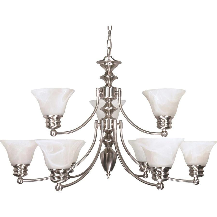 Empire 32-in 9-Light Brushed Nickel Alabaster Glass Tiered Chandelier