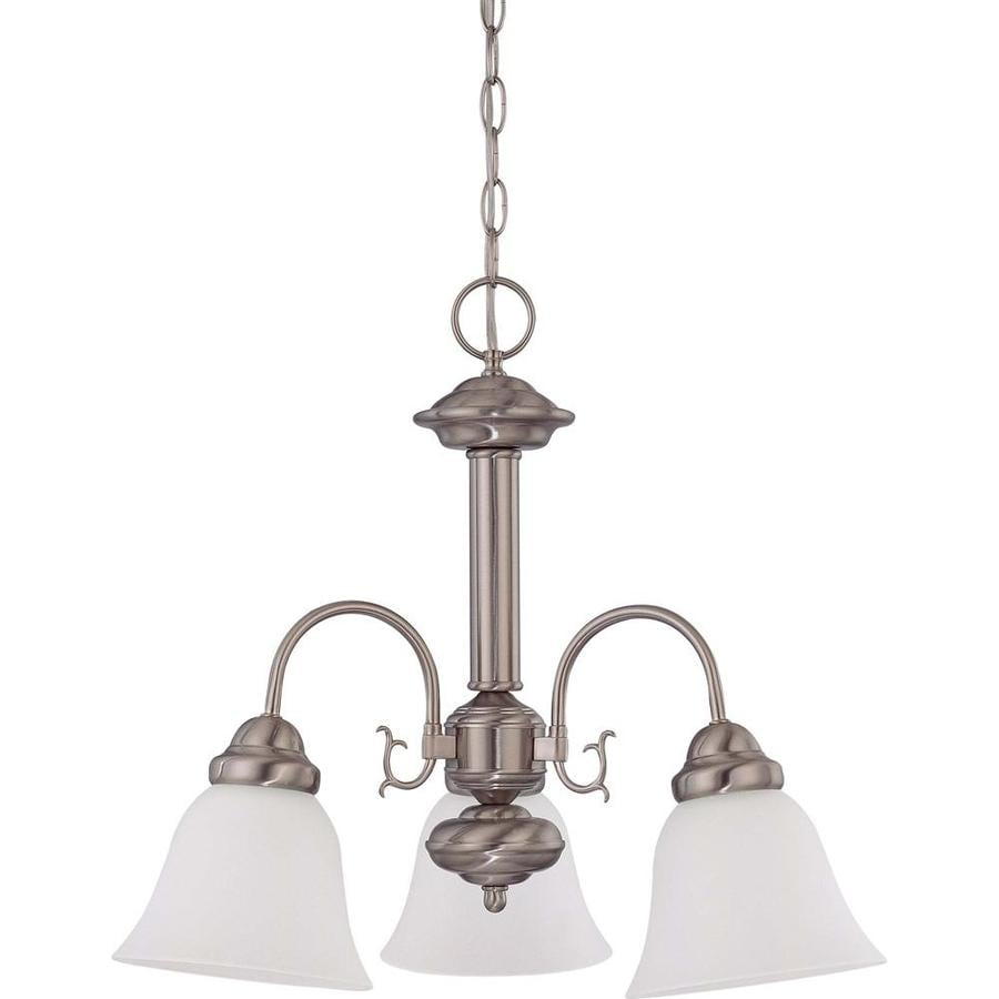 Edith 20-in 3-Light Brushed Nickel Tinted Glass Candle Chandelier