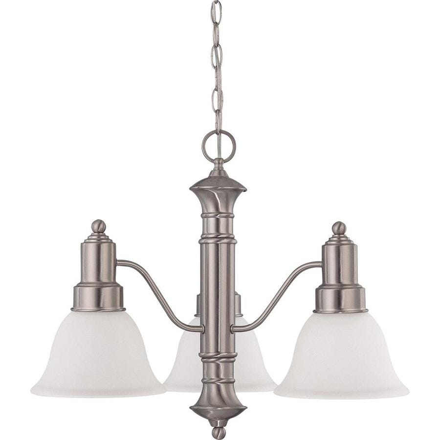 Gotham 22.5-in 3-Light Brushed nickel Tinted Glass Candle Chandelier