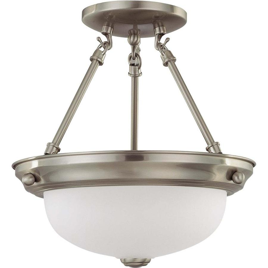Divina 12-in W Brushed Nickel Frosted Glass Semi-Flush Mount Light